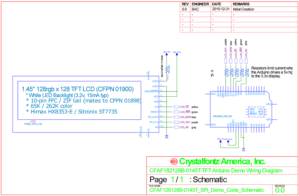 CFAF128128B 0145T_SPI_Demo_Schematic connecting the small cfaf128128b 0145t tft to an arduino uno or LCD Monitor Schematic at edmiracle.co